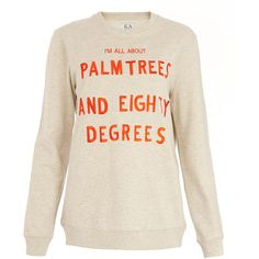 Zoe Karssen Light Grey Palm Trees Eighty Degrees Printed Sweatshirt ($185) ❤ liked on Polyvore featuring tops, hoodies, sweatshirts, 80s tops, 80s sweatshirt, crewneck sweatshirt, evening tops and holiday tops