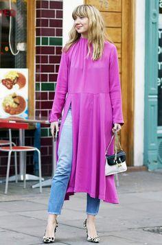 how to wear a dress over jeans: Lisa Aiken in Balenciaga