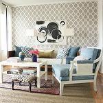 Capella Kincheloe Interior Design - living rooms - white, gray, moorish, tiles, wallpaper, accent wall, white, sheers, black, ribbon, trim, black, white, abstract, art, wood, mid-century modern, sofa, oatmeal, linen, cushions, white chairs, upholstered, blue, fabric, wool, rug, layered, herringbone, jute, rug, glossy, white, coffee table, trellis wallpaper, gray trellis wallpaper, moroccan wallpaper, gray moroccan wallpaper, quatrefoil wallpaper, gray quatrefoil wallpaper, moorish tiles wallpaper, gray moorish tiles wallpaper,