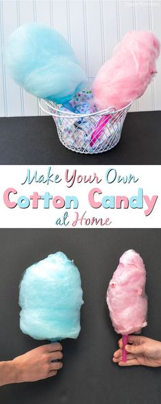 How to Make Cotton Candy is part of Homemade cotton candy Making Cotton Candy at home is fun and easy! Perfect for birthday parties or other entertaining - Homemade Cotton Candy, Cotton Candy Party, Homemade Candies, Cotton Candy Recipes, Homemade Candy Recipes, Cotton Candy Drinks, Cotton Candy Cakes, Yummy Treats, Delicious Desserts