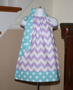lavender aqua blue chevron Pillowcase dress back by BlakeandBailey, $19.99 So cute! FLOWER GIRL :)