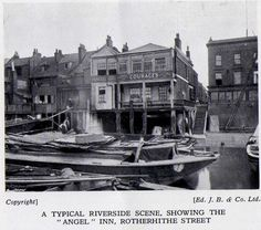 "A typical riverside scene, showing the ""Angel"" Inn, Rotherhithe Street.  Old Bermondsey pics and adverts from the 1938 Official guide to Bermondsey - Pictures of Bermondsey & Rotherhithe"