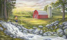 Red Barn and Stream Landscape Painting by Artist Lloyd W Thibodeau Oil Paintings, Landscape Paintings, Oil Paint Medium, Future Days, Oil Painting Flowers, Period, Youth, Rest, Barn
