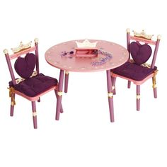 Set up this beautiful table at your tea party! Place a white cloth over top and add flowers to the center for some decorations! Princess Table and Chairs Set, $299.95