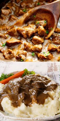 "Ridiculously tender, Homemade Slow Cooker Beef Tips and Gravy (without any ""cream of"" anything!) is richly satisfying, comforting and flavorful and the perfect make ahead meal for busy weeknights! Crock Pot Recipes, Beef Tip Recipes, Crockpot Dishes, Beef Dishes, Ground Beef Recipes, Slow Cooker Recipes, Cooking Recipes, Crockpot Meals, Beef Stew Crockpot Recipe"