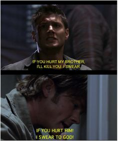 These two are so sweet. <3 I really miss when Sam was the same way about protecting Dean as Dean is about his Sammy.... :(