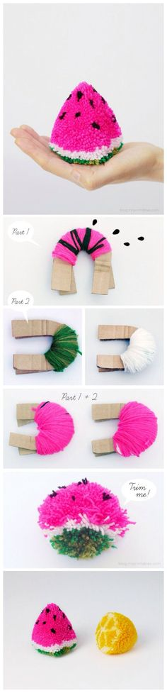 Watermelon pom-pom. fun kids crafts, kid ideas, #kids #diy kids diy ideas