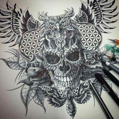 My Most Favorite Geometric Tattoo Dot Tattoos, Head Tattoos, Body Art Tattoos, Owl Skull Tattoos, Chest Piece Tattoos, Chest Tattoo, Back Tattoo, Owl Tattoo Drawings, Tattoo Sketches