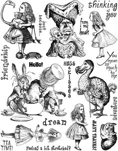 Alice in Wonderland Set Unmounted Rubber Stamp Sheet Alice In Wonderland Original, Alice In Wonderland Tea Party, Printable Images, Alice In Wonderland Illustrations, Alice Tea Party, Foto Transfer, Alice Madness Returns, Mad Hatter Tea, Mad Hatters