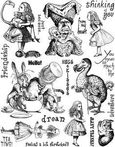 alice in wonderland rubber stamps | Alice in Wonderland Set #3 Unmounted Rubber Stamp Sheet