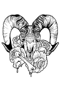 rose skull drawings - Google Search
