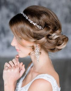 vintage wedding updo hairstyle for brides
