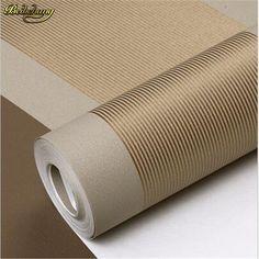 beibehang 3D Wall Paper Stripe Wallpaper Flocking Bedroom or Living Room or TV Background Wall Beige Grey .papel de parede Roll