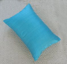 turquoise oblong pillow cover 13X22 inch custom made silk pillow cover