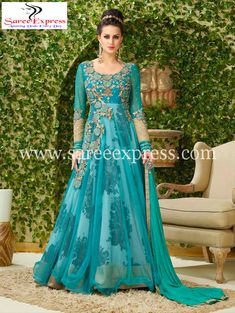 Women s Clothing - Festival Wear Sky Blue Net Embroidered Anarkali Suit - 4002 - PRODUCT Details : Style : Semi-Stitched Party Wear Anarkali Suit, Churidar SuitDefault S Silk Anarkali Suits, Indian Salwar Kameez, Salwar Kameez Online, Anarkali Dress, Lehenga Choli, Sari, Long Anarkali, Salwar Suits, Churidar
