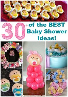 of the BEST Baby Shower Ideas! Over 30 of the BEST Baby Shower Ideas…including Decorations, Food, Games, Gifts, and more! These ideas are so cute and easy to make! Baby Shower Cakes, Baby Shower Favors, Shower Party, Baby Shower Parties, Baby Shower Themes, Baby Shower Decorations, Shower Ideas, Baby Showers, Baby Shower Appetizers