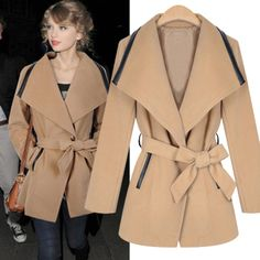 Cheap fashion large lapel waist thin Slim women woolen trench coat with belt in women outcoat from women clothing on sightface.com