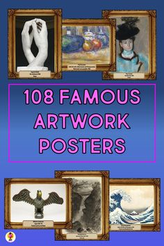 108 high resolution, beautifully presented art posters. Contains famous artwork in printmaking, drawing, watercolor and sculpture.  A variety of different styles and subject matter are represented.   #artappreciationforkids  #artreproductions #arthistoryforkids #artposters History Lessons For Kids, Art Lessons Elementary, High School Art, Middle School Art, Art Room Posters, Famous Artwork, Art Curriculum, Printmaking, Bliss