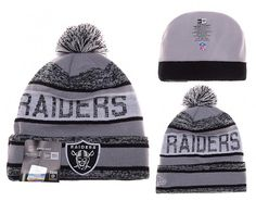 34a93f8d6 Mens   Womens Oakland Raiders New Era 2016 Big Deals NFL Foggy Logo Striped Knit  Beanie Hat With Pom - Grey   Silver