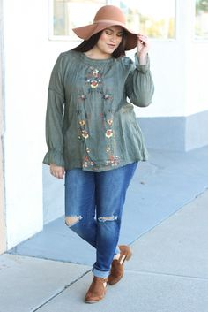 e3935d5710c Lucy Embroidered Bell Sleeve Top in Olive. My Sisters ClosetOnline ...