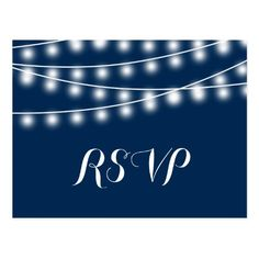 Backyard Wedding RSVP Cards Summer Wedding String Lights RSVP Postcard