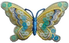 "Amazon.com: [Single Count] Custom and Unique (3"" by 2"" Inches) Mother Nature Beautiful Bugs Sequins Rhinestone Butterfly Iron On Embroidered Applique Patch {Yellow and Blue Colors}"
