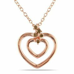 Pink Silver 0.07 CT TDW Brown Diamond Heart Pendant with Chain Amour. $22.99
