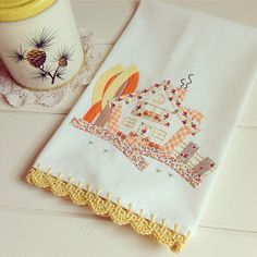 recreate a sweet cottage flour sack tea by vintagegreyhandmade Guest Towels, Hand Towels, Tea Towels, Embroidery Patterns, Applique, Cottage, Autumn, Fall, Unique Jewelry