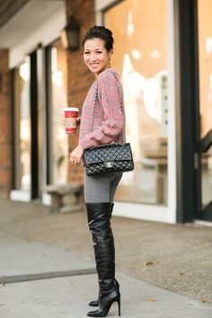Cozy Coffee :: Chunky sweater Top :: Dagmar (old) (similar here & here) Paige :: Paige (also love this fit here) Shoes :: Alexander Wang (similar here) Bag :: Chanel Accessories :: Wanderlust + Co necklace, Tacori ring, Deborah Lippmann 'Lady is a tramp' polish