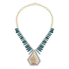 Irene Neuwirth 18k white and yellow gold necklace with 59.79 ct. opal, 36.14 cts. t.w. indicolite, 5.16 cts. t.w. rose-cut diamonds, and 0.48 ct. t.w. diamond pavé; price on request