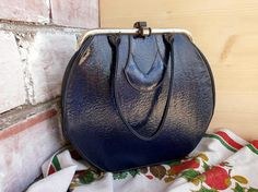 Vintage leather bag purse Navy blue womens handbag 1950s