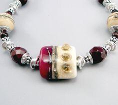 Lampwork Bracelet Glass Bead Bracelet Artisan by TouchOfSilver