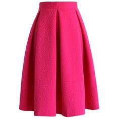 Chicwish Reminisce From Rose Embossed Midi Skirt in Hot Pink (£34) ❤ liked on Polyvore featuring skirts, bottoms, saia, pink, chicwish, flared skirt, pleated skirt, flare skirt, knee length flared skirts and pleated midi skirt
