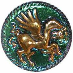 Green/Purple Glass Button w/ Gold Pegasus