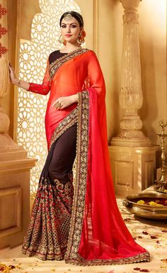 Buy latest saree designs, designer indian outfits like fashion saree. Order this energetic brown and orange designer half n half saree for bridal and wedding. Indian Designer Sarees, Latest Designer Sarees, Indian Sarees, Lehenga Choli, Sari, Saree Blouse, Designer Sarees Online Shopping, Designer Sarees Collection, Trendy Sarees