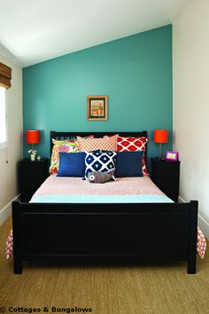 back wall color and love the mix of colors on the bed