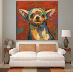 Chihuahua Abstract Oil Painting Print on Canvas