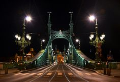 Szabadság (Liberty) bridge at night - front - Budapest, Hungary Cityscape Wallpaper, Bridge Wallpaper, City Wallpaper, Liberty Bridge, Budapest City, Budapest Hungary, Share Pictures, Free Pictures, Steel Bridge