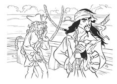 Captain Jack Sparrow Pirates Of The Caribbean Coloring Page For Kids