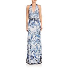 Roberto Cavalli Women's Printed Jersey Halter Gown (2,136 CAD) ❤ liked on Polyvore featuring dresses, gowns, apparel & accessories, black blue, blue evening dresses, blue gown, halter gown, neck ties and blue necktie