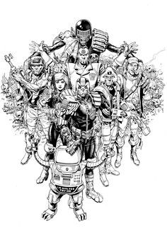 Cliff Robinson commission featuring some of 2000AD greatest heroes,led of course by Tharg the Mighty!