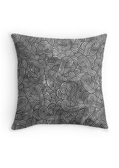 """""""Grey and black zentangles"""" Throw Pillow by Savousepate on Redbubble #throwpillow #pillow #homedecor #pattern #zentangles #scrolls #doodles #black #grey #gray"""