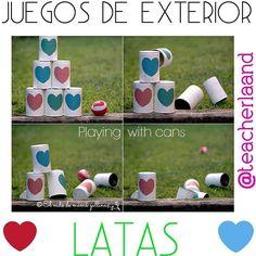 ☆Manualidades☆ Juegos para niños utilizando latas, este es un juego genial para un fin de semana en casa, puedes utilizar una pelota para derribar las latas o llenar una media de algo pesado y jugar con eso.    #juegos #niños #juegosparaniños #infantil #maestra #manualidades #mamas #mami #madre #hijo #familia #diy #hazlotumismo #diversion #findesemanaencasa #latas #reciclaje #teacherland #venezuela #genial #corazon #jugando