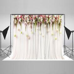 7x5ft Cotton Polyester Printed Colorful Flowers White Pink Lace Curtain Wedding Ceremony Photography Backdrop No Creases Folding Wedding Photo Background, Photo Booth Background, Birthday Background, Backdrop Background, Flower Backdrop, Background For Photography, Backdrop Ideas, Fotos Baby Shower, Wedding Backdrops