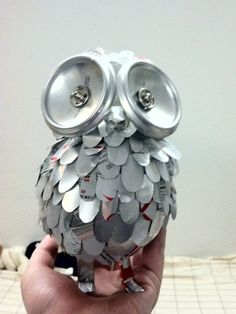 Owl made out of diet coke cans Pinned by www.myowlbarn.com