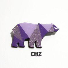 Ehz bijoux broche épingle ours polaire violet à facettes géométriques