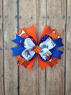 OKC Thunder basketball mini hairbow  by RitzyRibbonBowtique