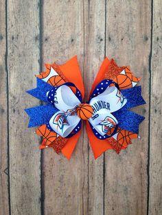 OKC Thunder basketball mini hairbow by RitzyRibbonBowtique