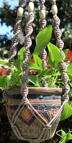 "HELIX in ""POTTERY"" macrame plant hanger by Chiron Creations Macrame Plant Hanger Patterns, Macrame Plant Holder, Macrame Patterns, Plant Holders, Macrame Knots, Micro Macrame, Sisal, Air Plant Display, Macrame Projects"