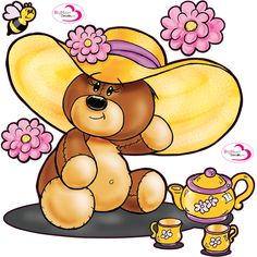 Shella Bear Tea Party from Big Heart Decals Inc. Made in Canada. Fabric stickers or wall decals for nursery or kids playrooms. Sticks on walls, windows and flat surfaces.  Movable, removable, no residue.  Price: $50.00 - 24 x 24 inches